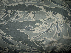 Airman Battle Uniform - Close-up view of digital tiger stripe pattern.