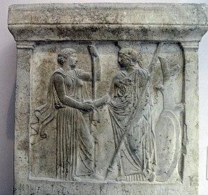 Handshake - Hera and Athena handshaking, late 5th century BC, Acropolis Museum, Athens