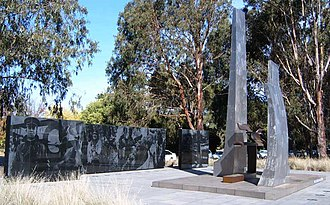 Colin Hannah - RAAF Memorial in Canberra. Air Marshal Hannah was on the committee that approved the monument as unveiled in 1973; the rear panels date from 2002.