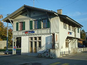 Bannwil - Historic Aare Seeland mobil (ASm) train station in Bannwil from 1907.