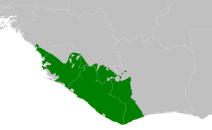 Western Guinean lowland forests - Image: AT0130 map