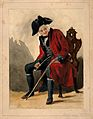 A Chelsea Pensioner, seated, wearing a red coat and tricorn Wellcome V0012944.jpg