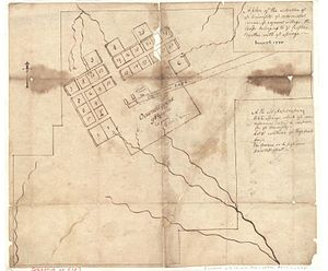 History of the University of North Carolina at Chapel Hill - A Plan of the Situation of Ye University, Ye Ornamental Ground, Ye Adjacent Village, the Lands Belonging to Ye Trustees, Charles Wilson Harris, 1795. Early plan for the university.