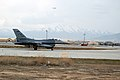 A U.S. Air Force F-16 Fighting Falcon aircraft assigned to Homestead Air Reserve Base, Fla., taxis after landing at Bagram Airfield, Parwan province, Afghanistan, March 7, 2014 140307-F-YY948-081.jpg