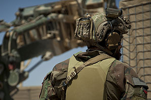 Combat helmet - Image: A U.S. Marine with a Marine special operations team assists with security during the construction of an Afghan Local Police (ALP) checkpoint in Helmand province, Afghanistan, March 30, 2013 130330 M BO337 105