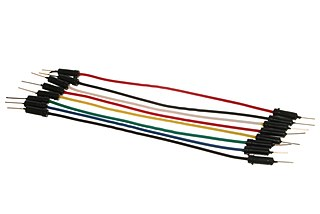 Jump wire electrical wire or cable, which is normally used to interconnect the components of a breadboard or other prototype or test circuit, without soldering