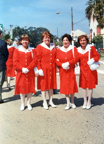 A group of Chilean 'Damas de Rojo', volunteers on their local hospital. A group of Damas de Rojo.jpg