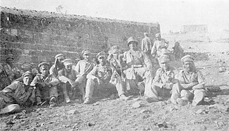 Battle of Megiddo (1918) - A group of German prisoners captured during the fight at  Semakh on the Sea of Galilee.