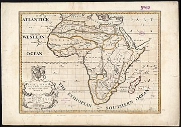 """Southern Ocean"" as alternative to the Aethiopian Ocean, 18th century A new map of Africk, shewing its present general divisions cheif cities or towns, rivers, mountain &c. (8250932292).jpg"