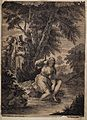 A young girl by a river watched by three men. Etching after Wellcome V0034469.jpg