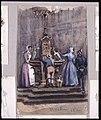 Aachen 1872. Kvinnor som hämtar vatten vid torgbrunn. Akvarell av Fritz von Dardel - Nordiska museet - NMA.0038427.jpg