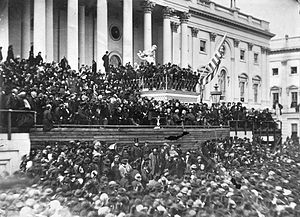 Abraham Lincoln's second inaugural address - This image Lincoln delivering his second inaugural address is the most famous photograph of the event. Lincoln stands in the center, with papers in his hand.