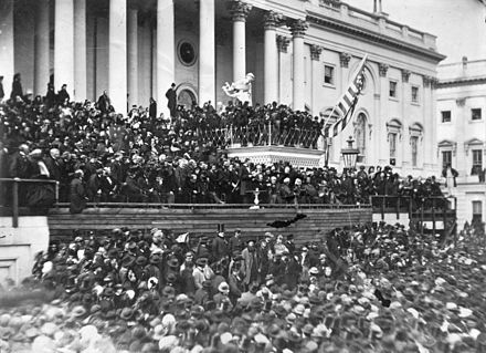 Lincoln's second inaugural address in 1865 at the almost completed Capitol building Abraham Lincoln second inaugural address.jpg