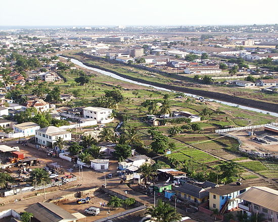 Most of Angelou's time in Africa was spent in Accra, Ghana, shown here in 2008. Accra Skyline 1.jpg