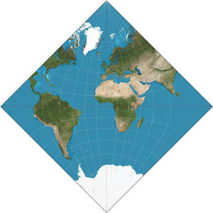 Adams hemisphere-in-a-square projection - Adams hemisphere-in-a-square projection. 15° graticule.