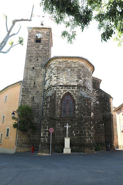 Adissan (Hérault) - chevet et clocher de l'église Saint-Adrien