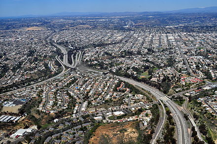 Aerial view of San Diego suburb