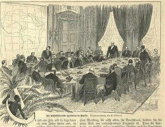 "Berlin Conference - The conference of Berlin, as illustrated in ""Die Gartenlaube"""