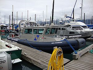 Alaska State Troopers - The Sea Warden, a high speed watercraft used by AST, docked in Seward.