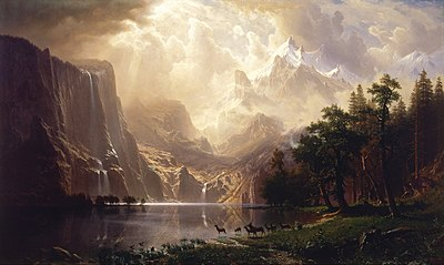 "Lukisan ""Di tengah Sierra Nevada, California"" (Among the Sierra Nevada, California), oleh Albert Bierstadt (1868)"