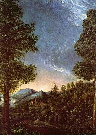 German Renaissance - Albrecht Altdorfer (c.1480–1538), Danube landscape near Regensburg c. 1528, one of the earliest Western pure landscapes, from the Danube School in southern Germany.