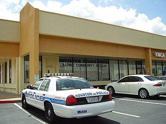 Houston Police Department - An HPD patrol car parked outside the Aldine Storefront in Greenspoint