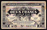Algeria january 31 1944 2 francs algerien AMGOT.jpg