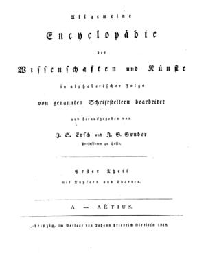 Allgemeine Encyclopädie der Wissenschaften und Künste - Title page of volume 1
