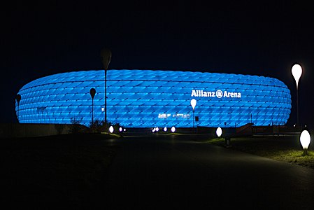 Allianz Arena lighting in blue, Munich, Germany.