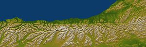 Alpine Fault - This map, coloured by elevation, shows how the Alpine Fault affects the topography of the South Island's West Coast. The region shown is 495 km (307 mi) long; northwest is at the top.