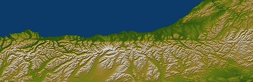 Elevation map of the west coast of New Zealand's South Island showing the sharp line formed by the Alpine Fault. North is to the right. Alpine Fault SRTM.jpg
