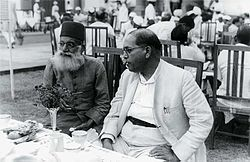 Ambedkar and Maulana Hasrat Mohani at Sardar Patel's reception.jpg