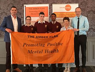 Bishopstown Community School - BCS Receiving the amber flag for its promotion of positive mental health