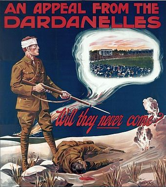 Australia's first recruitment poster, published in 1915, questions the public's commitment to Australian football, rather than the war. An appeal from the Dardanelles.jpg
