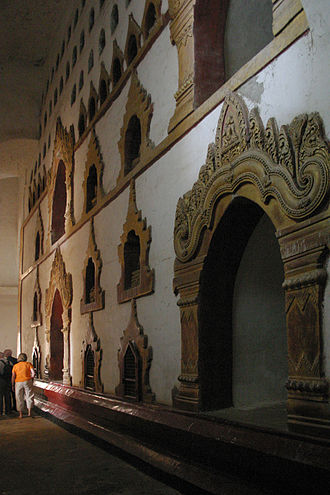 Ananda Temple - Frescoes of Buddha from birth to death depicted in the passage