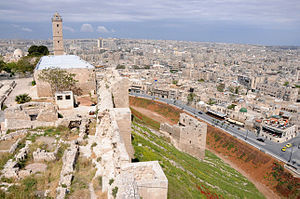 Citadel of ancient Aleppo, overlooking the modern city