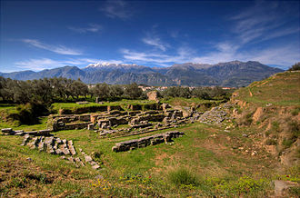 Laconic phrase - Theater of ancient Sparta with Mt. Taygetus in the background