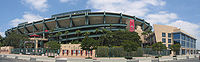 Exterior panorama of Angel Stadium, from the right field entrance.