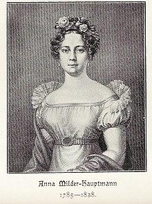 Anna Milder-Hauptmann, nach einer Zeichnung von Sigmund Ferdinand von Perger (Quelle: Wikimedia)