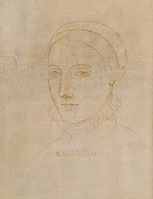 Portrait of Anne Hathaway - Drawing of Anne Hathaway in Curzon Family Third Folio