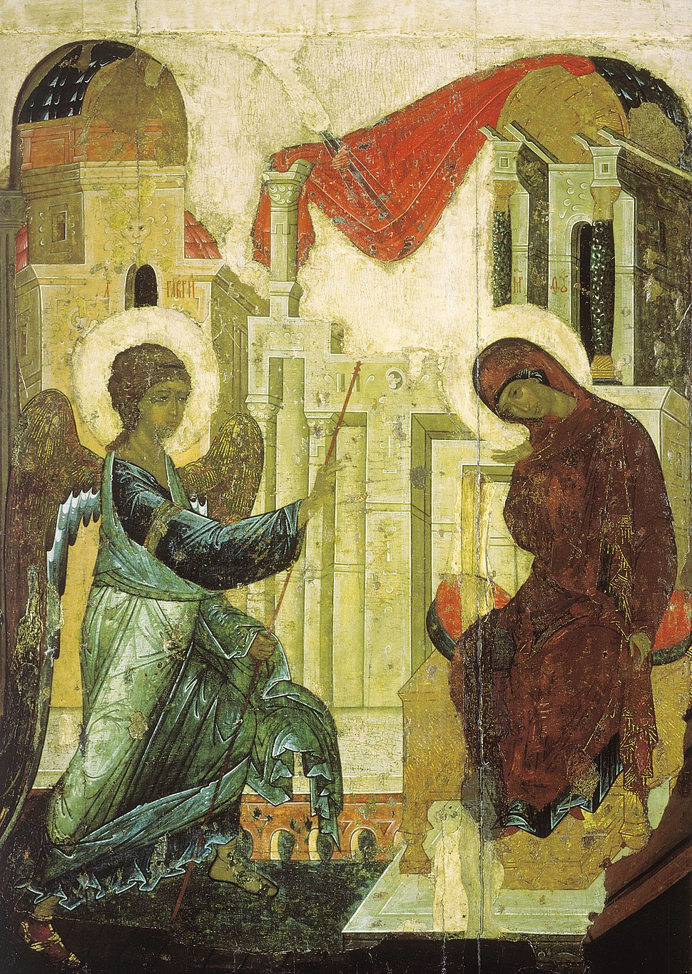 Annunciation from Vasilyevskiy chin (1408, Tretyakov gallery)