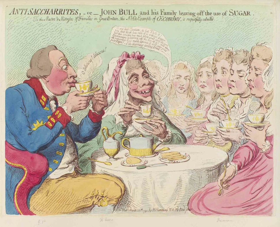 Anti-Saccharrites colored etching by James Gillray (1757 - 1815)