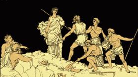 Antigone prise sur le fait et arrêtée par les gardes.