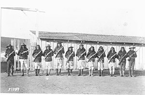 Fort Wingate - Apache Scouts visiting Fort Wingate during the 1880s.