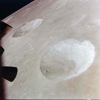 Hill (crater) - Hill crater (lower right) and Carmichael crater (upper left) from Apollo 15. NASA photo.