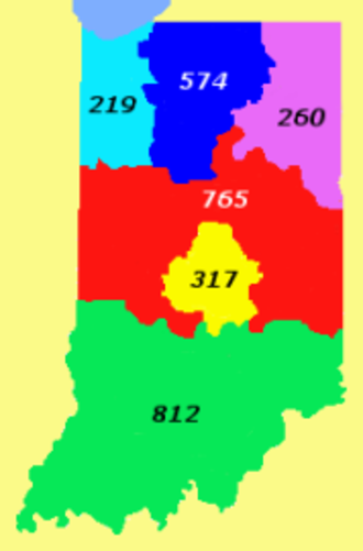 Area code 219 - Area codes in Indiana.