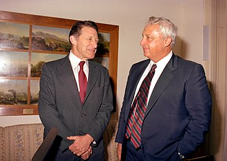 Caspar Weinberger - Secretary of Defense Caspar Weinberger (left) with Israeli Minister of Defense Ariel Sharon, 1982