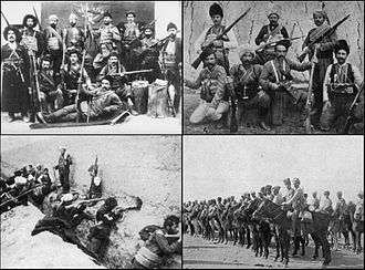 Armenian national liberation movement - clockwise: Battle of Holy Apostles Monastery, Armenian volunteers at the Caucasus Campaign, Van Resistance of 1915, Khanasor Expedition in 1897.