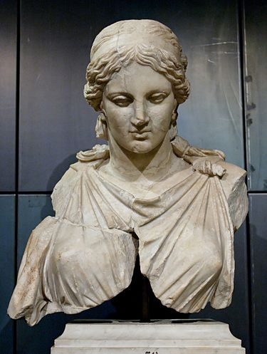 Roman marble Bust of Artemis after Kephisodotos (Musei Capitolini), Rome. Artemis Kephisodotos Musei Capitolini MC1123.jpg