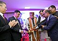 Ashwini Kumar Choubey lighting the lamp to inaugurate the World Class Office cum Warehouse and Eye Donation Camp, organised by the Hoya Medical India Private Limited, in New Delhi.jpg